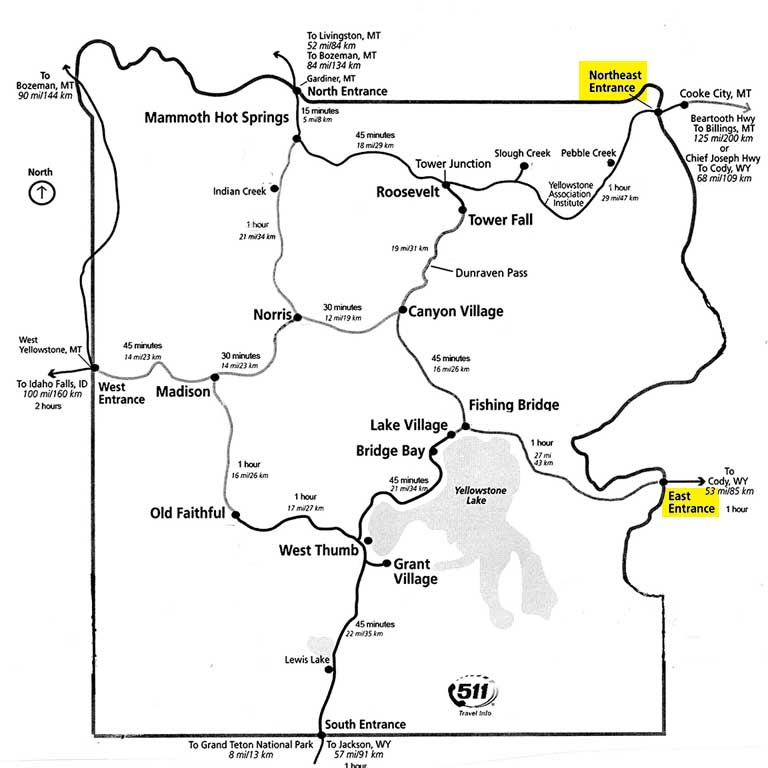 Road map of Yellowstone 2019